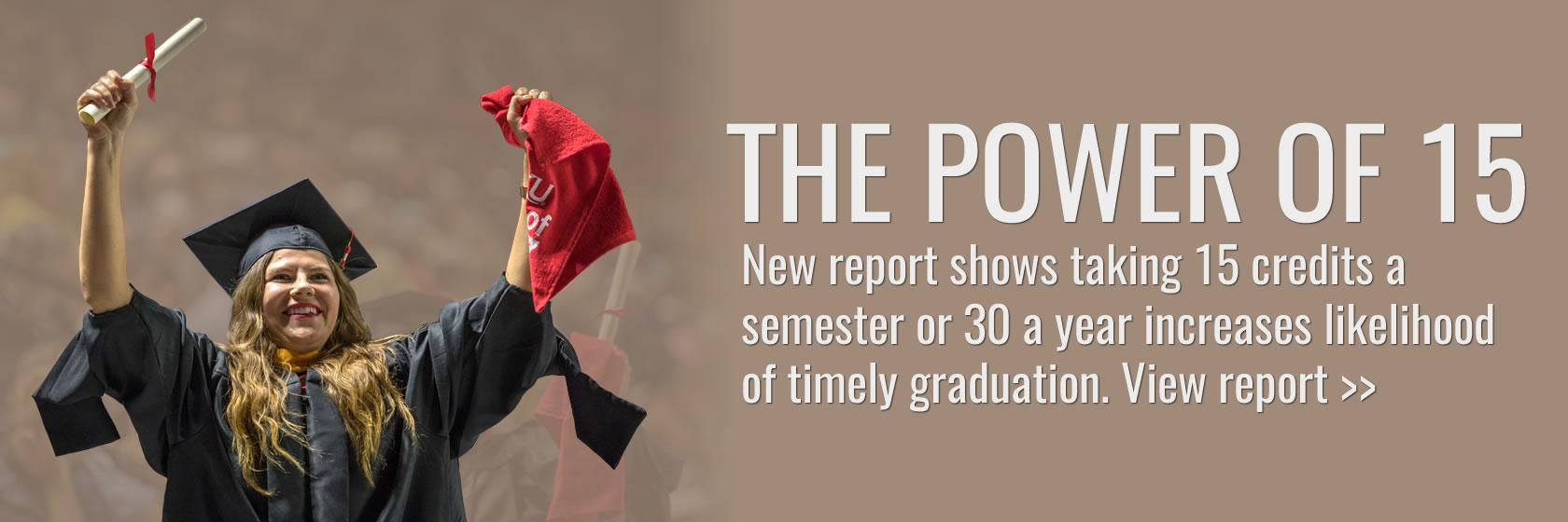 Learn how taking 15 credits a semester, 30 a year for affects on-time graduation rates.