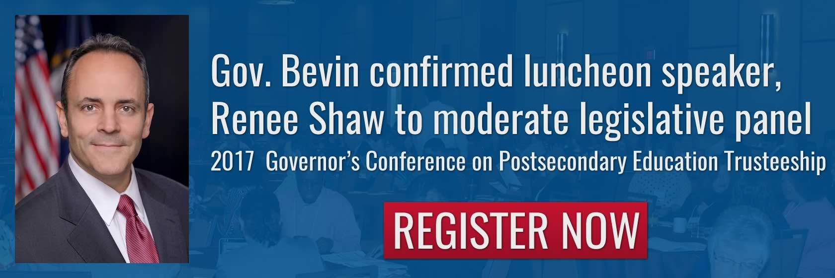 Register now for the Governor's Conference on Postsecondary Education Trusteeship.